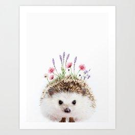 Hedgehog with Flower Crown Art Print