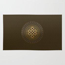 Gold Endless Knot  in Mandala Decorative Shape Rug