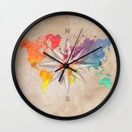 world map wind rose 1 #worldmap #map Wall Clock