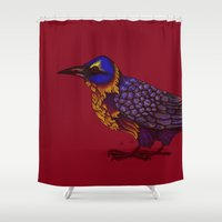 crow Shower Curtains featuring Crow by Sarinya  Withaya