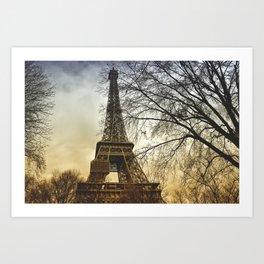 Winter sunset near the Eiffel tower in Paris Art Print