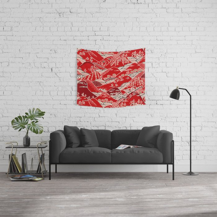 Red Mountains Wall Tapestry