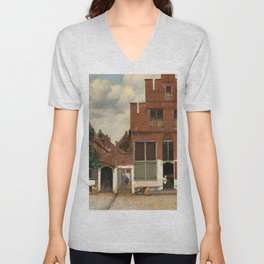 "Johannes Vermeer ""View on Houses in Delft (also known as 'The Little Street')"" Unisex V-Neck"