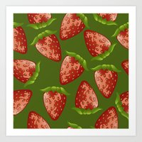 strawberry Art Prints featuring Strawberry by Julia Badeeva