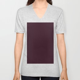 Dark Burgundy Solid Color Plain Unisex V-Neck