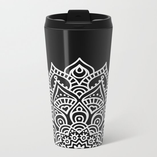 BLACK N' WHITE MANDALA Metal Travel Mug