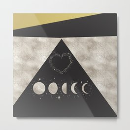 Silver Moon Phases Abstract Geometric Art Metal Print