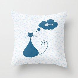 Cat & fish I Throw Pillow