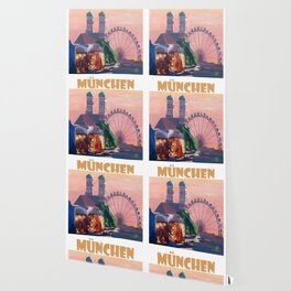Munich Bavaria Germany Retro Travel  Poster Wallpaper
