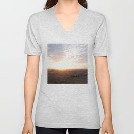Salisbury Crags overlooking Edinburgh at sunset 2 Unisex V-Neck