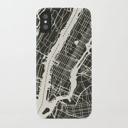 New York City Map_BLACK iPhone Case