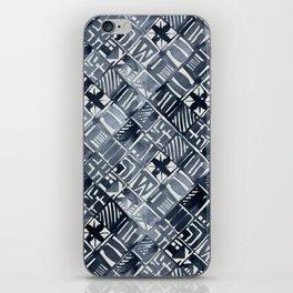 Simply Tribal Tiles in Indigo Blue on Lunar Gray iPhone Skin