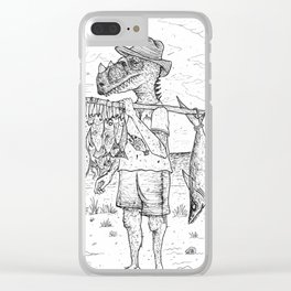 Dinosaur fisherman Clear iPhone Case
