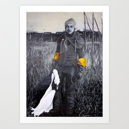 Nina and the swan Art Print