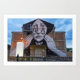 Photography Street Art in Bologna by Night  Art Print