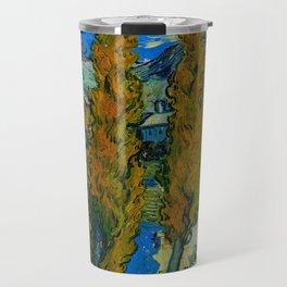 Vincent Van Gogh Beautiful Night Oil Painting Poplars at Saint-Rémy, October 1889 Landscape Travel Mug