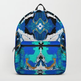 Ripples (Blue, White, Black & Gold Acrylic - Repeat Mirror Pattern 2) Backpack