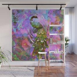 Peacock Watercolor Wall Mural
