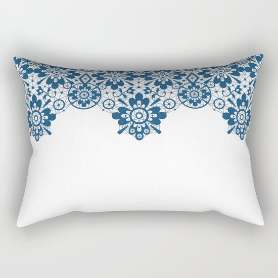 Blue lace on white background . Rectangular Pillow
