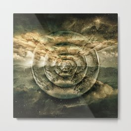 Planetary Soul Gold Depth Perception Metal Print