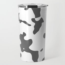 Large Spots - White and Dark Gray Travel Mug