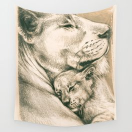Lioness And The Cub Wall Tapestry