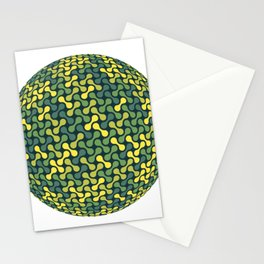 Metaballs Pattern Sphere (Green Yellow) Stationery Cards