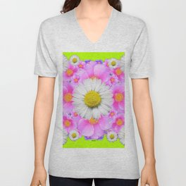 Chartreuse Green Color Shasta Daisies & Rose Pattern Unisex V-Neck