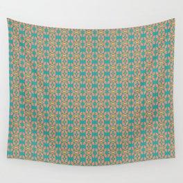 Southwestern Orange Turquoise Pattern Wall Tapestry