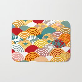 Nature background with japanese sakura flower, orange red pink Cherry, wave circle pattern Bath Mat