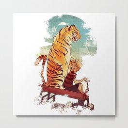 Calvin And Hobbes Tiger Metal Print