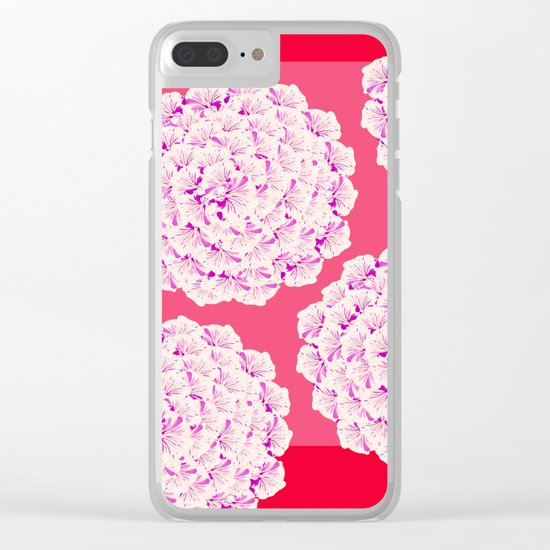 Large Flower Balls On Red Background - #Society6 #buyart Clear iPhone Case