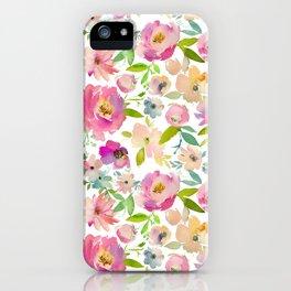 Elegant pink lavender green watercolor botanical floral iPhone Case