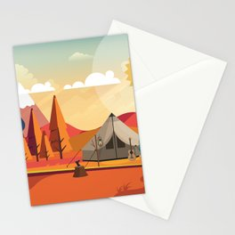 Wild Camping Autumn Landscape Stationery Cards