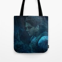 bucky barnes Tote Bags featuring The Winter Soldier (Bucky Barnes) by thecannibalfactory