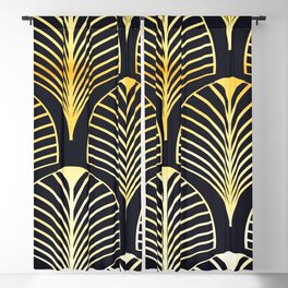Gold Black Deco Leaf Blackout Curtain