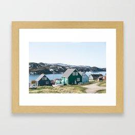 Coloured houses of Greenland Framed Art Print