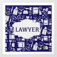 lawyer Art Prints featuring Blue Lawyer by Be Raza