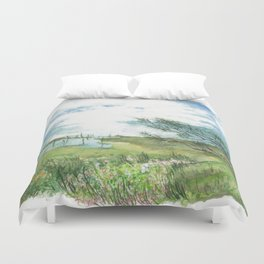 Summer by a lake Duvet Cover