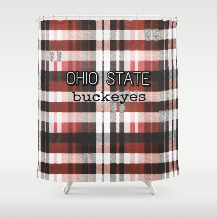 Ohio State Buckeye Plaid Shower Curtain