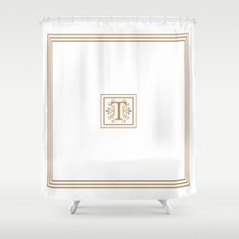 Monogram T in Golden Brown with Border Shower Curtain