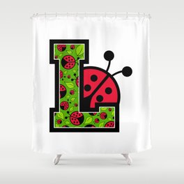 L is for Ladybird Shower Curtain