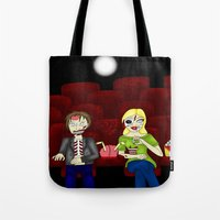 theatre Tote Bags featuring Horror Theatre by Beaston Designs