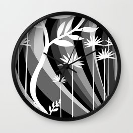 Black and White Botanical Illustration Curved Background and Plants Wall Clock