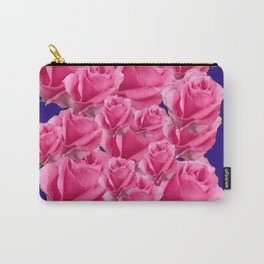 Romantic Rose Pink Color & Rose Garden Pattern Blue Art Carry-All Pouch