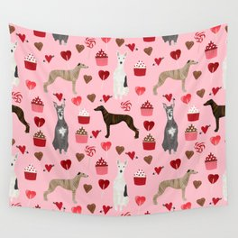 Whippet valentines day cupcakes love hearts dog breed pet portrait whippets pure breed dog gifts Wall Tapestry