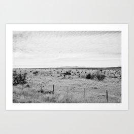 Marfa Desert in Black and White Art Print