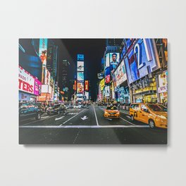 Night In Time Square NY Metal Print