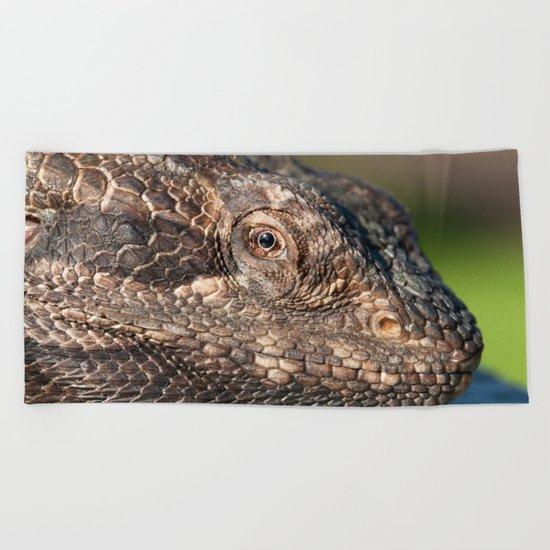 Bearded Dragon watching you Beach Towel