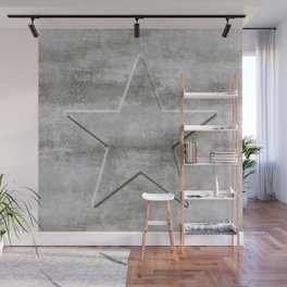 Solid Star in grey conrete Wall Mural